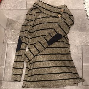 Brown and navy striped patchwork elbow sweater